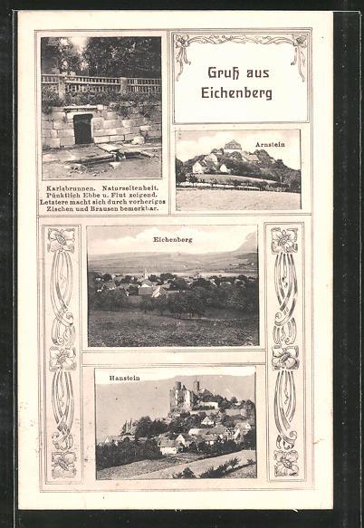 AK Eichenberg, Karlsbrunnen, Arnstein aus der Ferne, Ortsansicht aus der Ferne