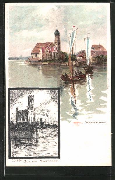 Künstler-AK M. Fischerova-Kvechova (MFK): Wasserburg, Ortsansicht vom See aus, Schloss Montfort