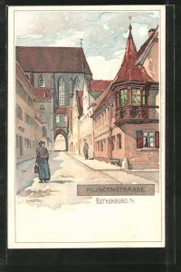 Künstler-AK Karl Mutter: Rothenburg, Blick in die Klingenstrasse