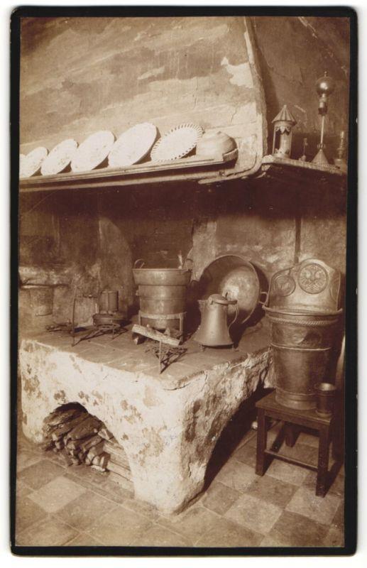 Fotografie Rud. Albrecht, Nürnberg, Ansicht Nürnberg, Feuerstelle-Küche im Geburtshaus von Albrecht Dürer