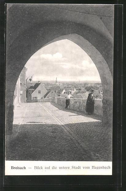 AK Breisach, Blick auf die Untere Stadt vom Hagenbach aus