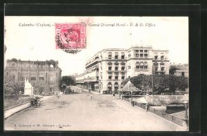 AK Colombo, Strassenpartie mit Grand Oriental Hotel