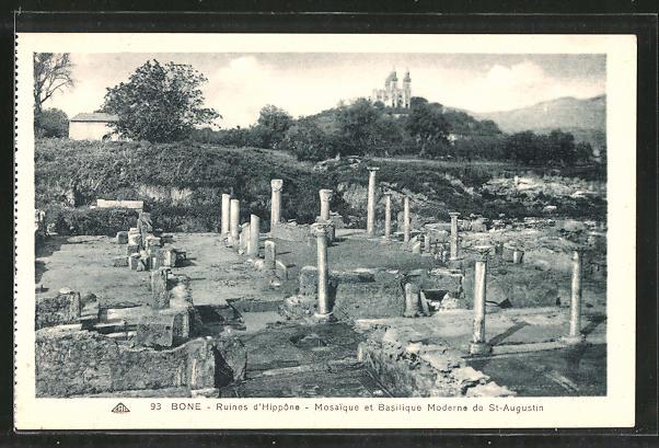 AK Bone, Ruines d'Hippone, Mosaique et Basilique Moderne de St. Augustin