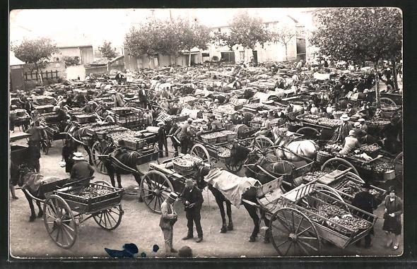 AK St-Rambert-D'Albon, Händler mit ihren Waren auf Kutschen