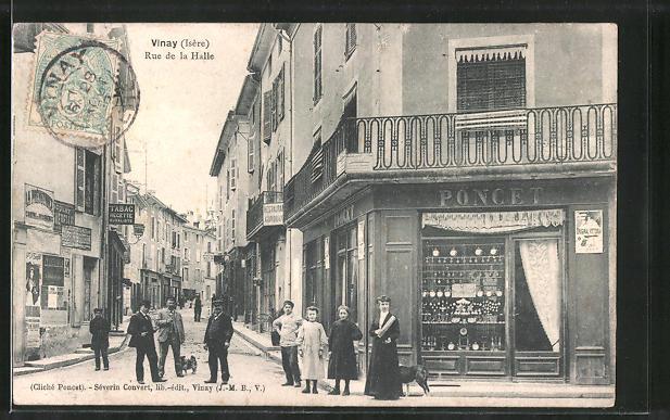 AK Vinay, Rue de la Halle, Strassenpartie im Zentrum