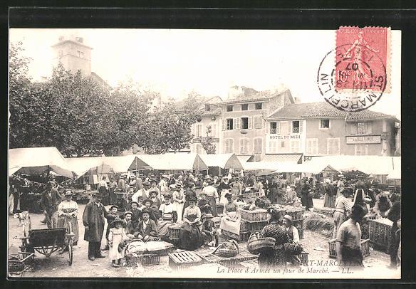 AK Saint-Marcellin, La Place d'Armes un jour de Marché