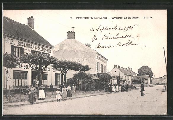 AK Verneuil-l'Étang, Avenue de la Gare, Hotel du Chemin de Fer
