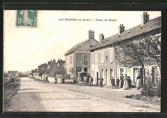 AK Les Brosses, Route de Melun, Strassenpartie