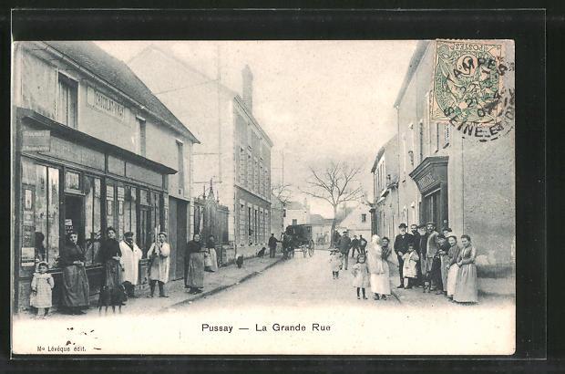 AK Pussay, La Grande Rue, Strassenpartie im Zentrum