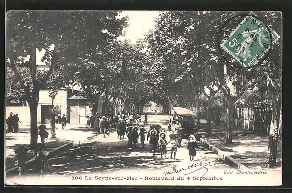 AK La Seyne-sur-Mer, Boulevard du 4 Septembre, Strassenpartie mit Kindern