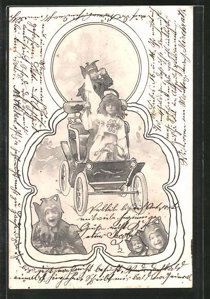 Künstler-AK Brüder Kohn (B.K.W.I) Nr. 660/7: Engelchen und Teufelchen in Auto