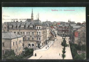 AK Radeberg, Dresdner Strasse mit Hotel Kaiserhof