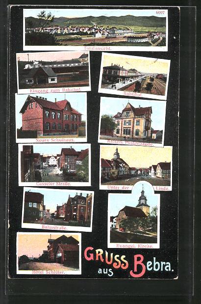 AK Bebra, Totalansicht, Bahnhof, Hotel Schlüter, Unter den Linden