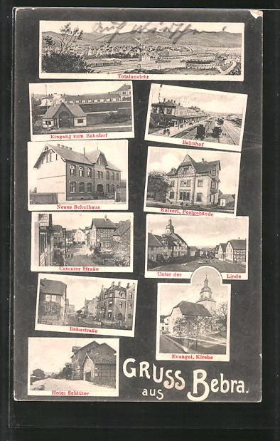 AK Bebra, Totalansicht, Bahnhof, Hotel Schlüter, Neues Schulhaus