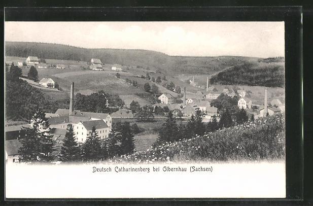 AK Deutschkatharinenberg, Ortspanorama vom Berg aus gesehen