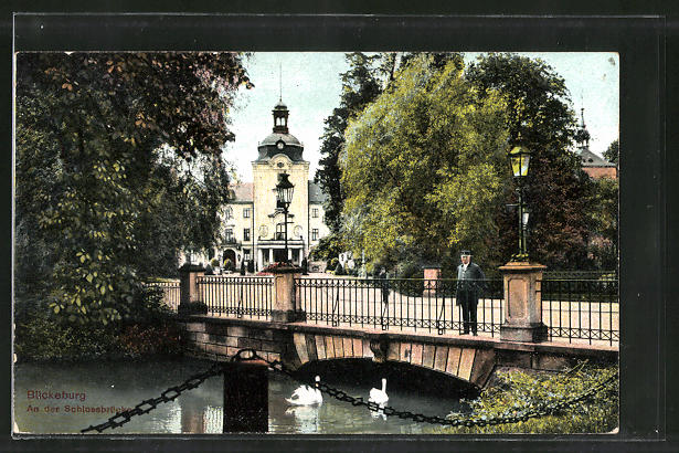 AK Bückeburg, Partie an der Schlossbrücke