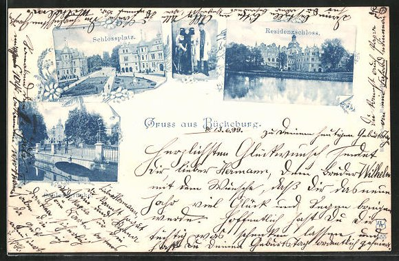 AK Bückeburg, Schlossplatz, Residenzschloss, Schlossbrücke