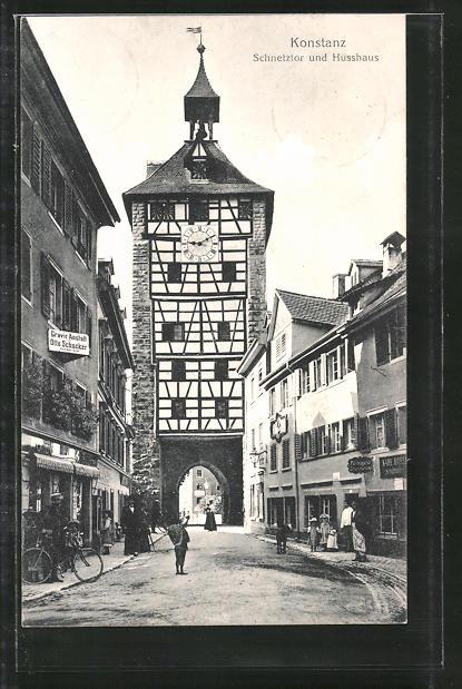 AK Konstanz, Strassenpartie am Schnetztor und Husshaus