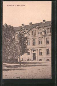 AK Herrnhut, Strassenpartie am Brüderhaus