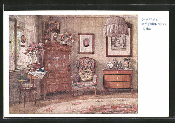 Künstler-AK Hans Götzinger: Grossmütterchens Heim, Stube