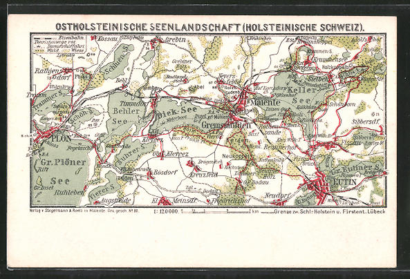 AK Eutin, Landkarte der Region nördwestlich der Stadt