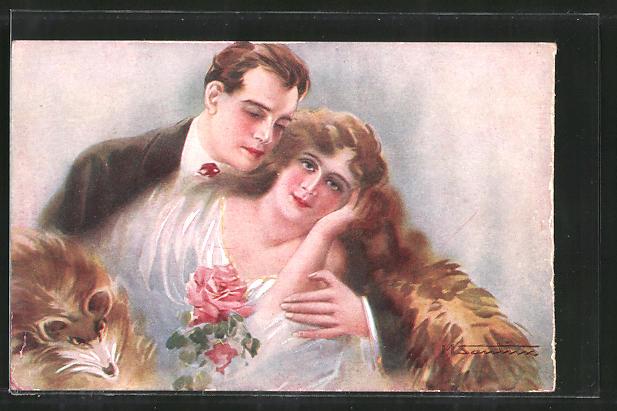 Künstler-AK M. Santino: Junges Paar mit einem Pelzmantel