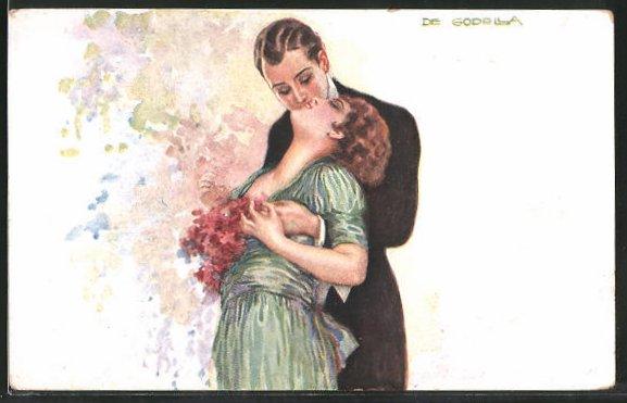 Künstler-AK de Godella: Junges Paar küsst sich