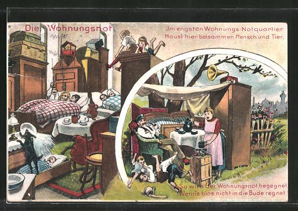 AK Die Wohnungsnot, Familie im freien mit Grammophon, Scherz