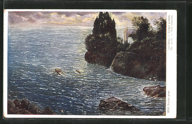 Künstler-AK Willy Straka: Am Meer, Landschaft