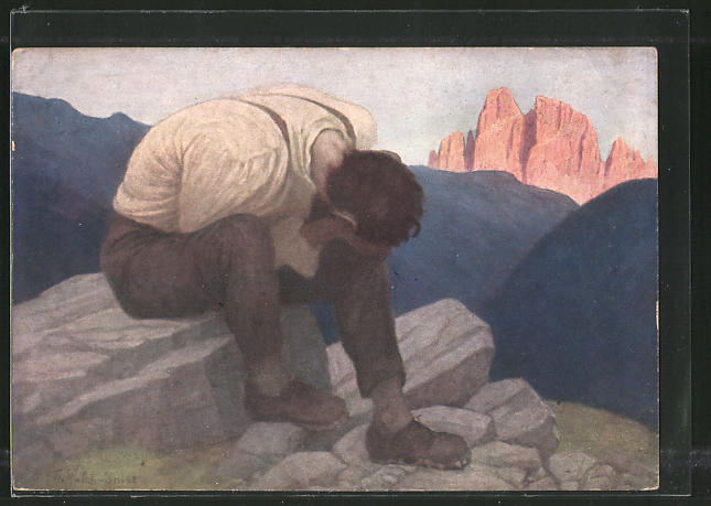 Künstler-AK Thomas Walch: Mann leidet unter Knechtschaft