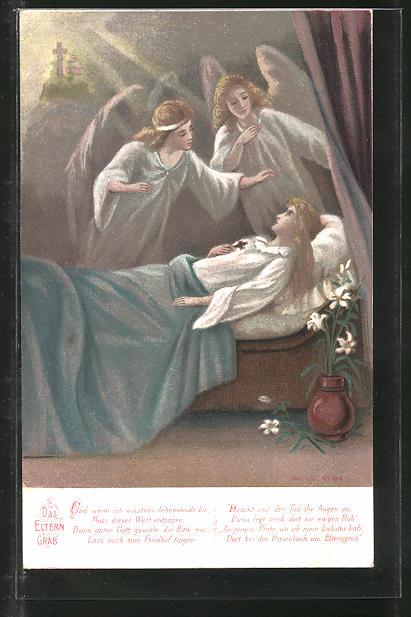 Lithographie Das Eltern Grab, Und wenn ich einstes lebensmüde bin..., Engel und Sterbende