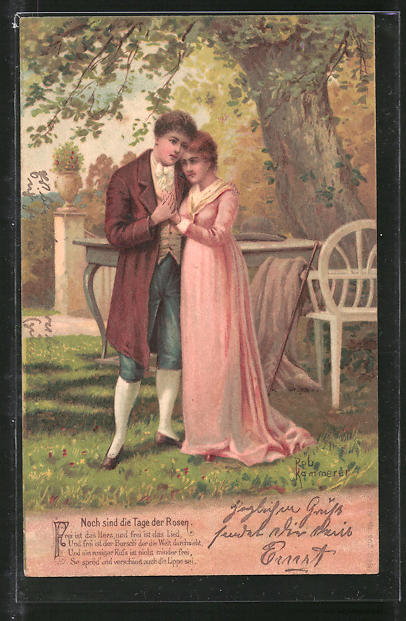 Künstler-Lithographie Robert Kämmerer: Noch sind die Tage der Rosen, Frei ist das Herz..., Liebespaar