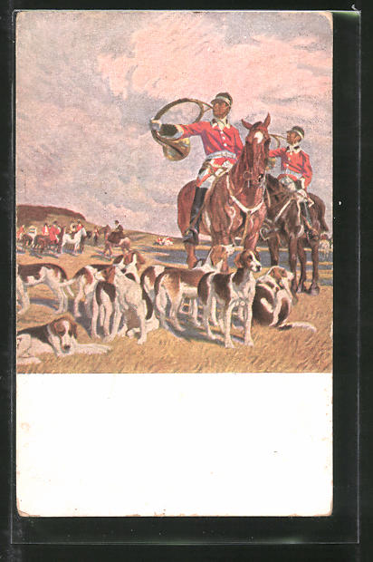Künstler-AK Angelo Jank: Jagdgesellschaft und Jagdhunde