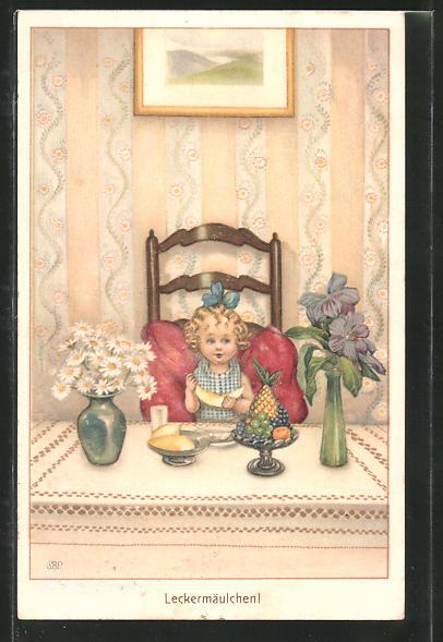 Künstler-AK Susan Beatrice Pearse: Kleines Mädchen nascht Obst am Tisch
