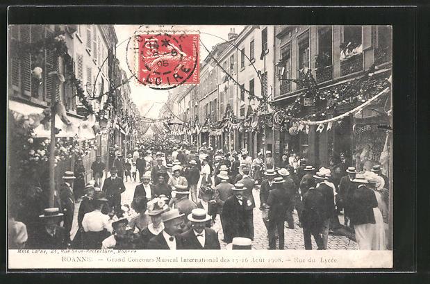 AK Roanne, Grand Concours Musical International 1908, Rue du Lycée, Sängerfest