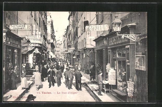 AK Toulon, La Rue d'Alger, Strassenpartie im Zentrum