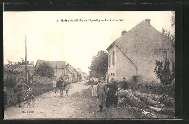 AK Grisy-les-Platres, La Vieille Cote, Strassenpartie mit Kuh und Fahrrad