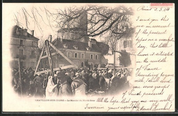 AK Chatillon-sur-Indre, Le Matrché du Mardi-Gras, Marktleben