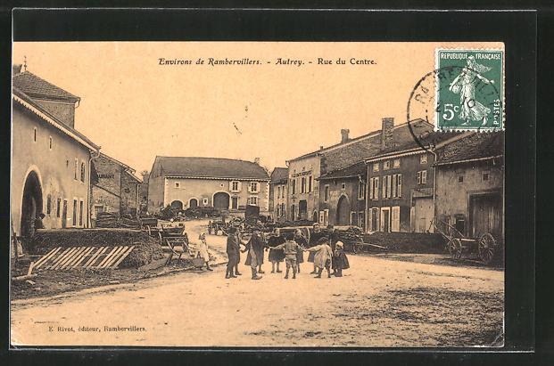 AK Autrey, Rue du Centre, Strassenpartie im Ortskern