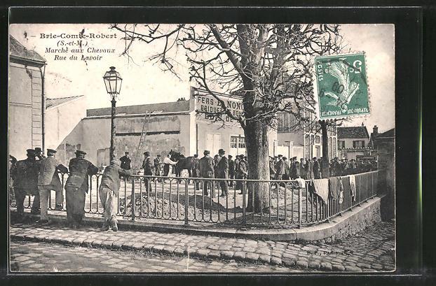 AK Brie-Comte-Robert, Marche aux Chevaux, Rue du Lavoir