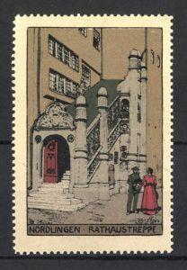 Reklamemarke Nördlingen, Beamter & Dame an der Rathaustreppe