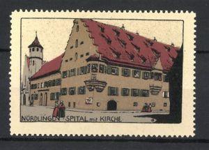 Reklamemarke Nördlingen, Spital mit Kirche