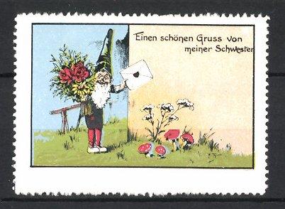 Reklamemarke Zwerg mit Brief und Blumenstrauss