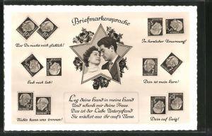 AK Briefmarkensprache, Leg deine Hand in meine Hand..., Liebespaar