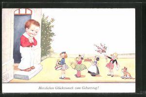 Künstler-AK John Wills: Glückwunsch zum Geburtstag!, Knabe und kleine Gratulanten