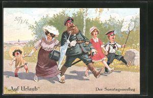 Künstler-AK Arthur Thiele: Auf Urlaub, Der Sonntagsausflug, Soldat mit Familie