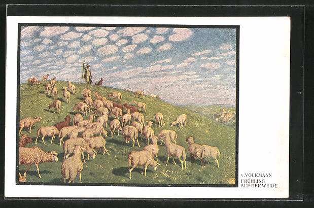 Künstler-AK Hans von Volkmann: Frühling auf der Weide, Schafhirte