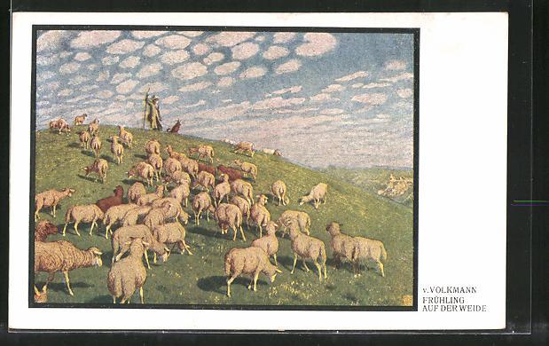 Künstler-AK Hans von Volkmann: Frühling auf der Weide, Schäfer mit Herde