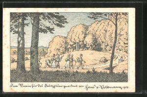 Künstler-AK Hans von Volkmann: Verein für das Deutschtum, Wandervögel