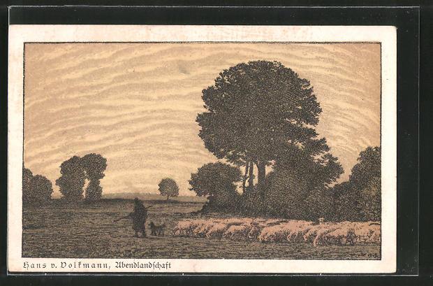 Künstler-AK Hans von Volkmann: Abendlandschaft, Schäfer mit Herde